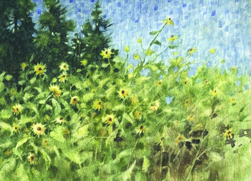 """""""Sunflower Wall"""" original fine art by Ginger Pena"""