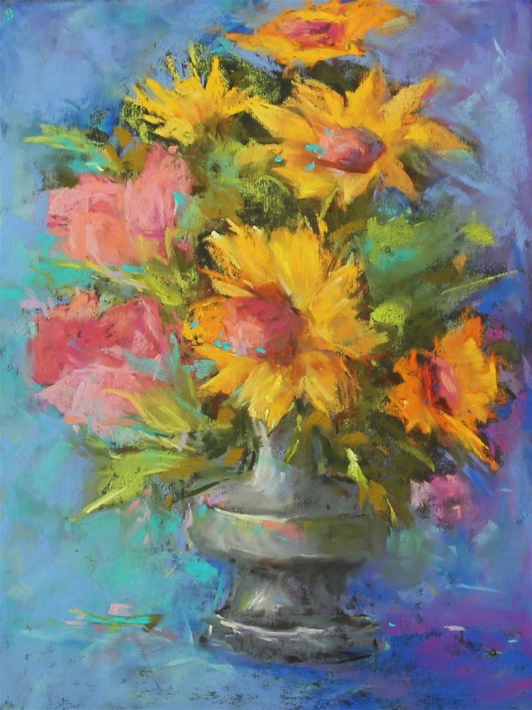 """""""Pastel sunflower floral yellow painting"""" original fine art by Alice Harpel"""