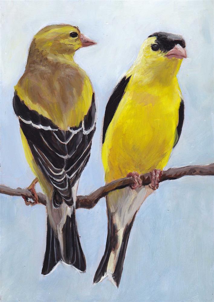 """Mr & Mrs Goldfinch"" original fine art by Charlotte Yealey"