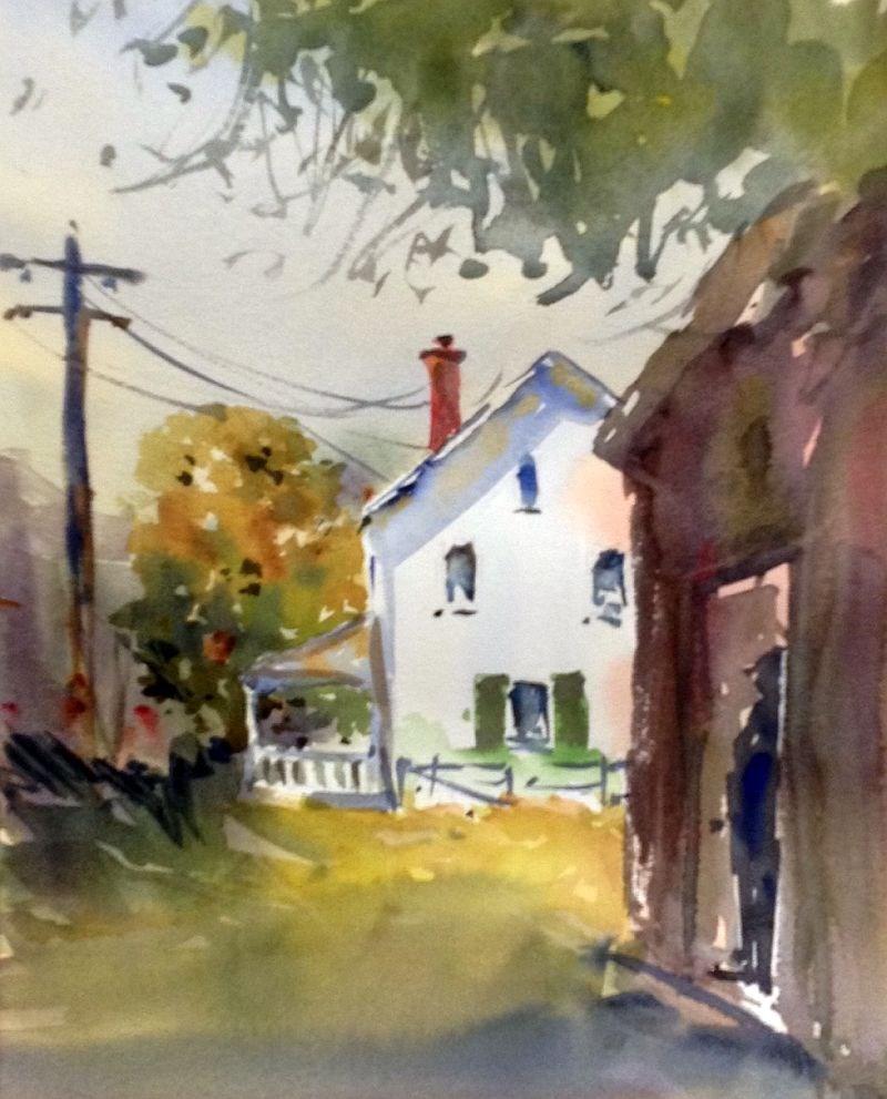 """""""Farmhouse in Sight"""" original fine art by David Finnell"""