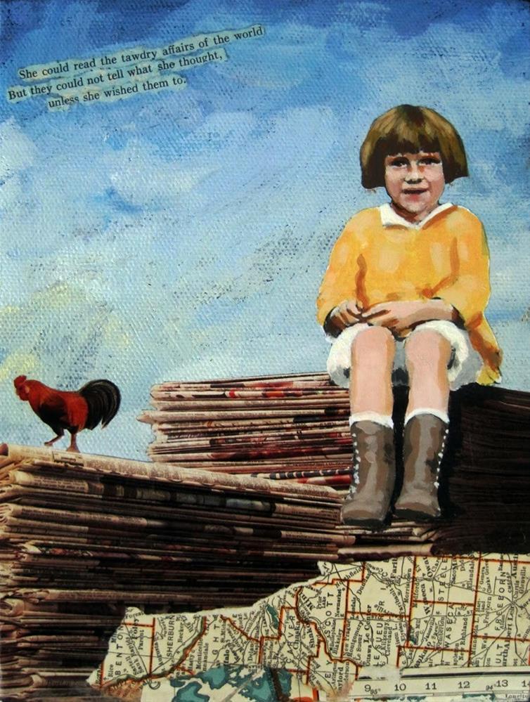 """Tawdry affairs little girl fantasy mixed media art original by Linda Apple"" original fine art by Linda Apple"