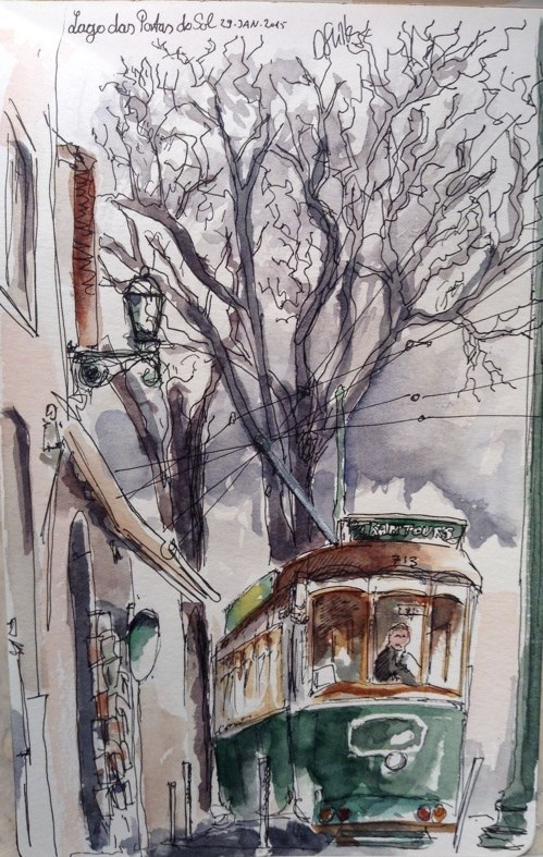 """1261 Tram Tours"" original fine art by Dietmar Stiller"