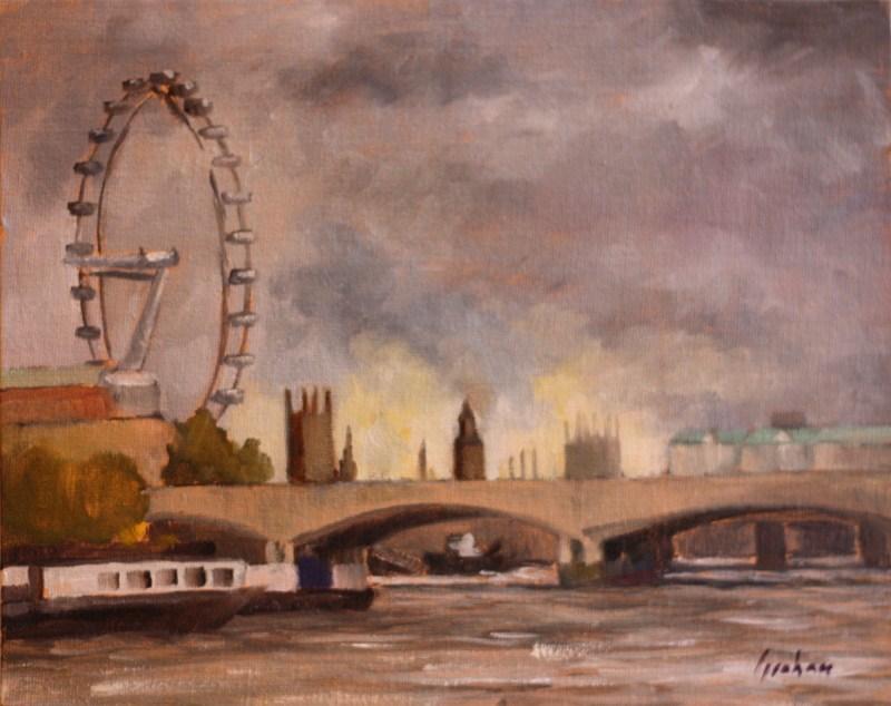 """Waterloo Bridge, sunset"" original fine art by Graham Townsend"