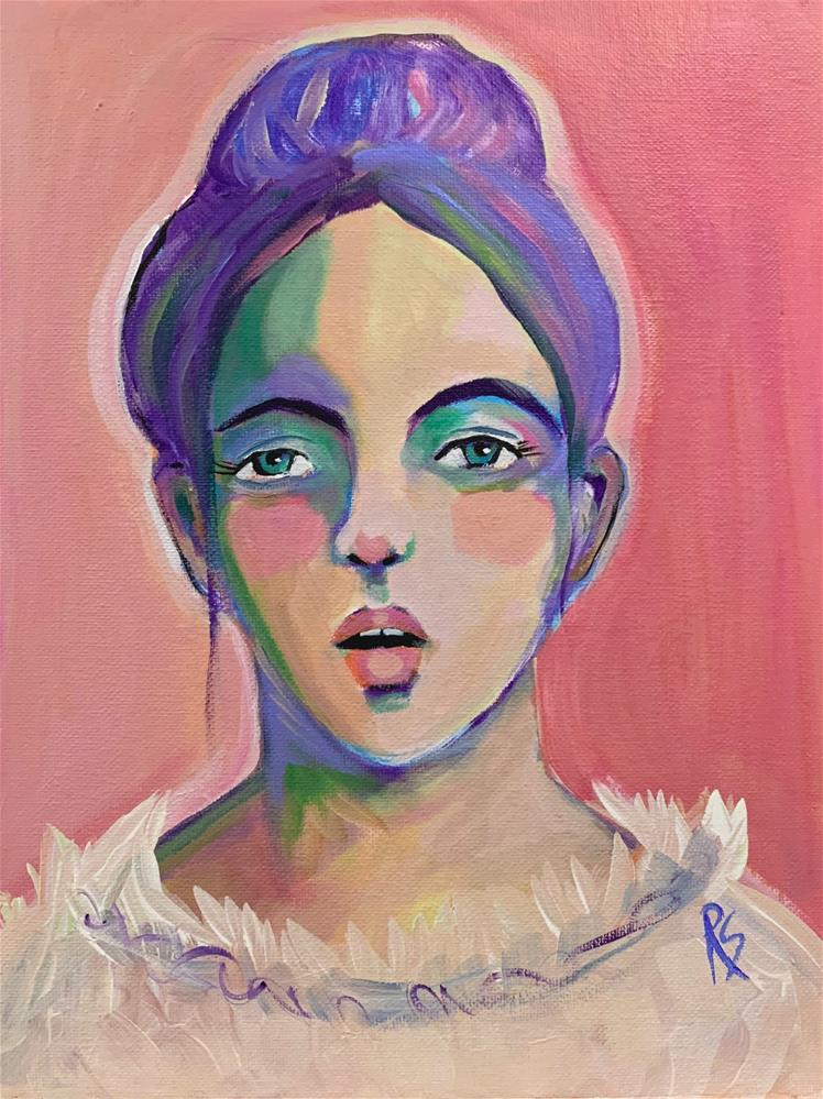 """#22 The Girl With Purple Hair"" original fine art by Roberta Schmidt ArtcyLucy"