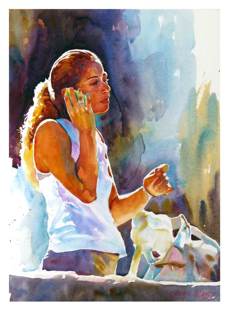 """""""Chatting in the sun"""" original fine art by Graham Berry"""