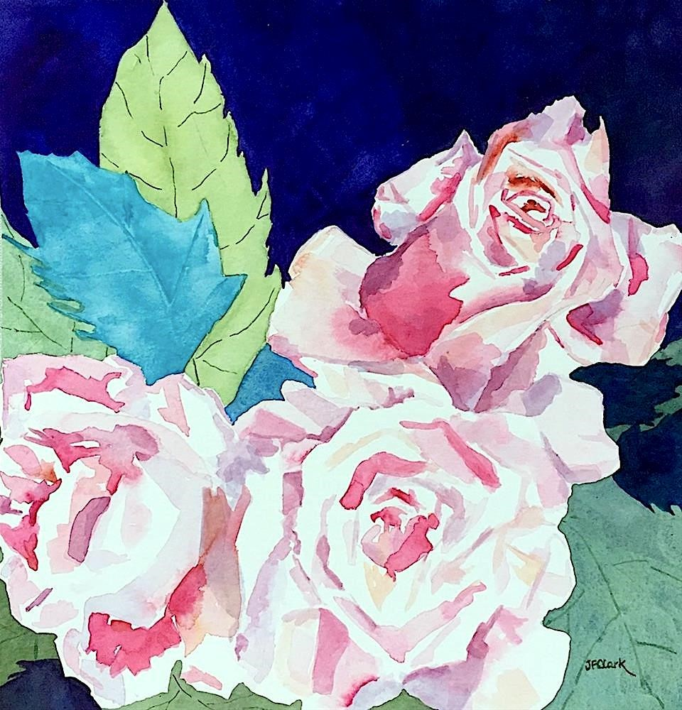 """Trio of Roses"" original fine art by Judith Freeman Clark"