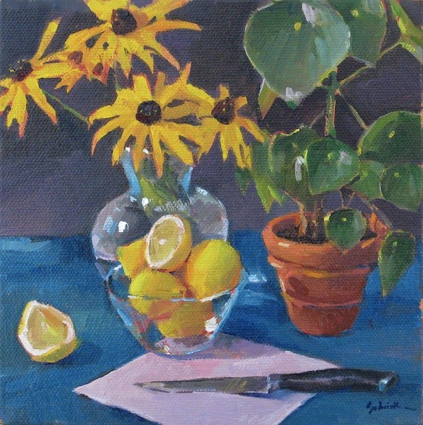 """Still Life with Cut Lemon and Houseplant floral fruit food botanical art painting original oil on"" original fine art by Sarah Sedwick"