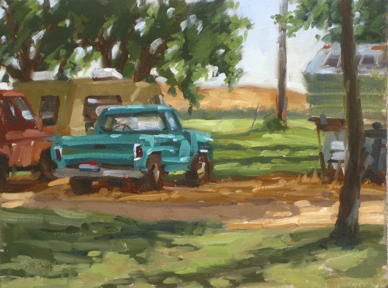 """""""Turquoise Truck"""" original fine art by Karen Werner"""