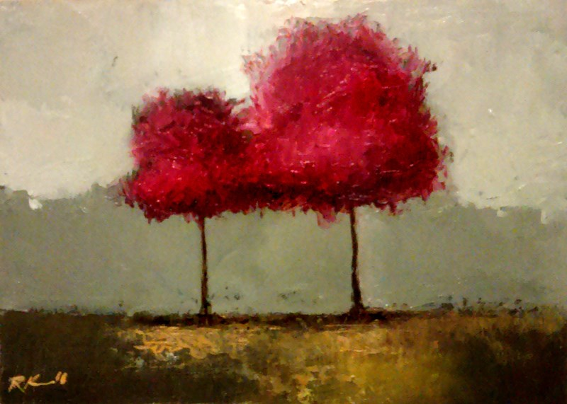 """""""Two Red Trees"""" original fine art by Bob Kimball"""