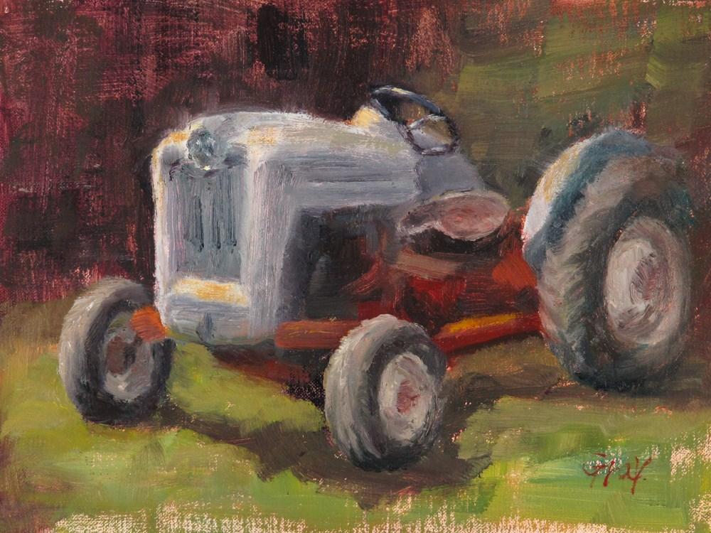 """""""White Tractor"""" original fine art by Naomi Gray"""