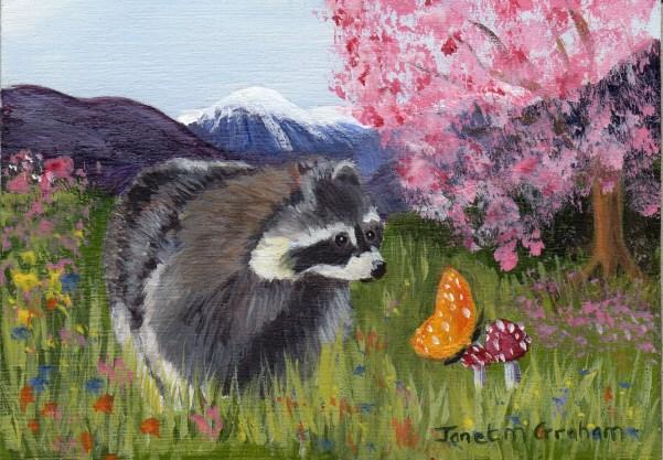 """Raccoon ACEO"" original fine art by Janet Graham"