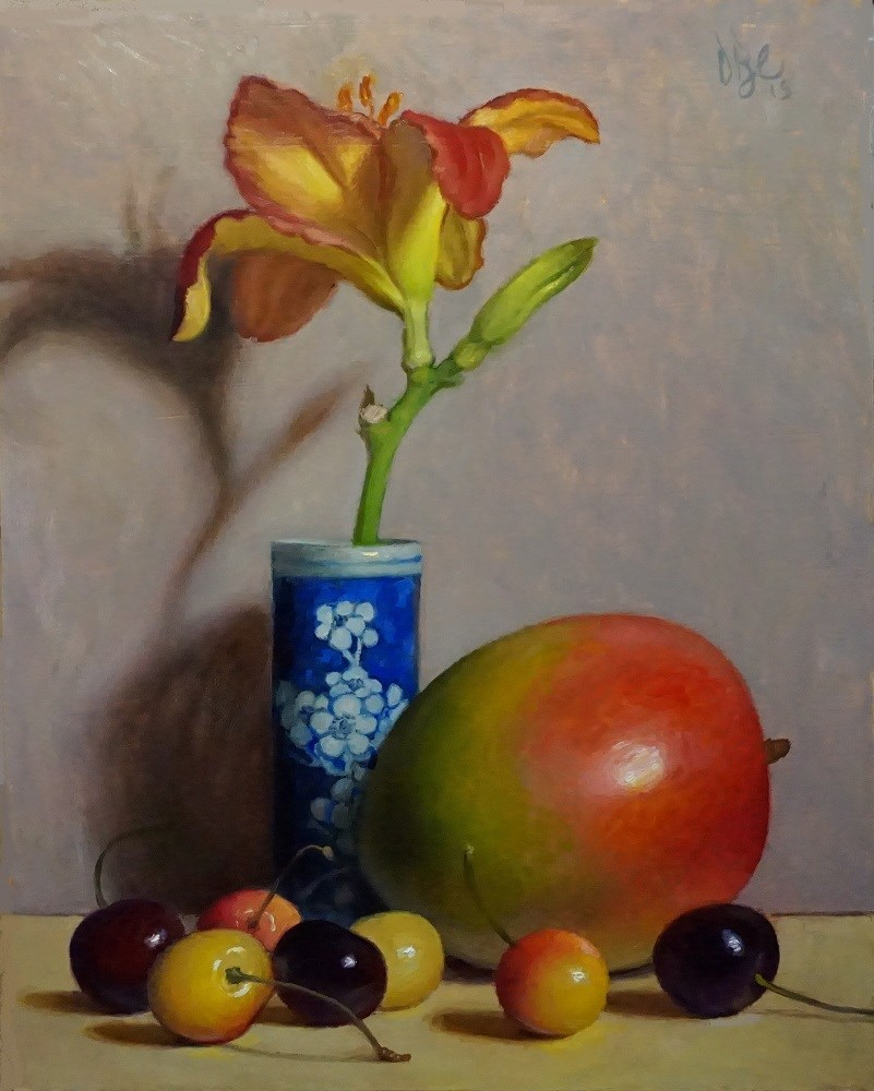 """Day Lily, Mango and Cherries"" original fine art by Debra Becks Cooper"
