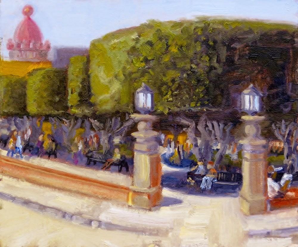 """Corner of Jardin"" original fine art by Richard Kiehn"