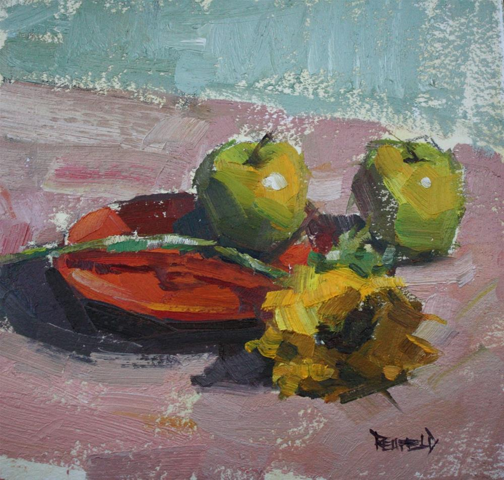 """Sunflower and Apples"" original fine art by Cathleen Rehfeld"