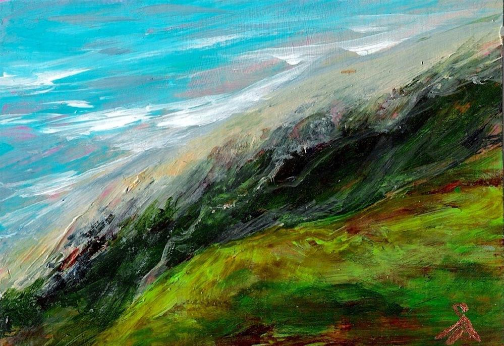 """3179 - SECRET BEACH - ACEO Series"" original fine art by Sea Dean"