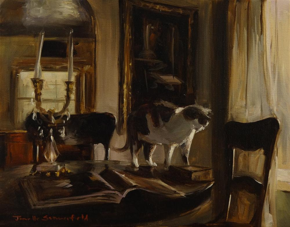 """Dining Room Table with Cat and Books"" original fine art by Jonelle Summerfield"