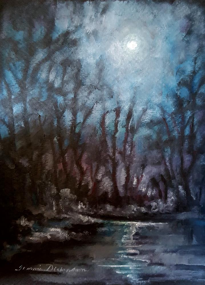"""Silver Moon over Pond"" original fine art by Tammie Dickerson"