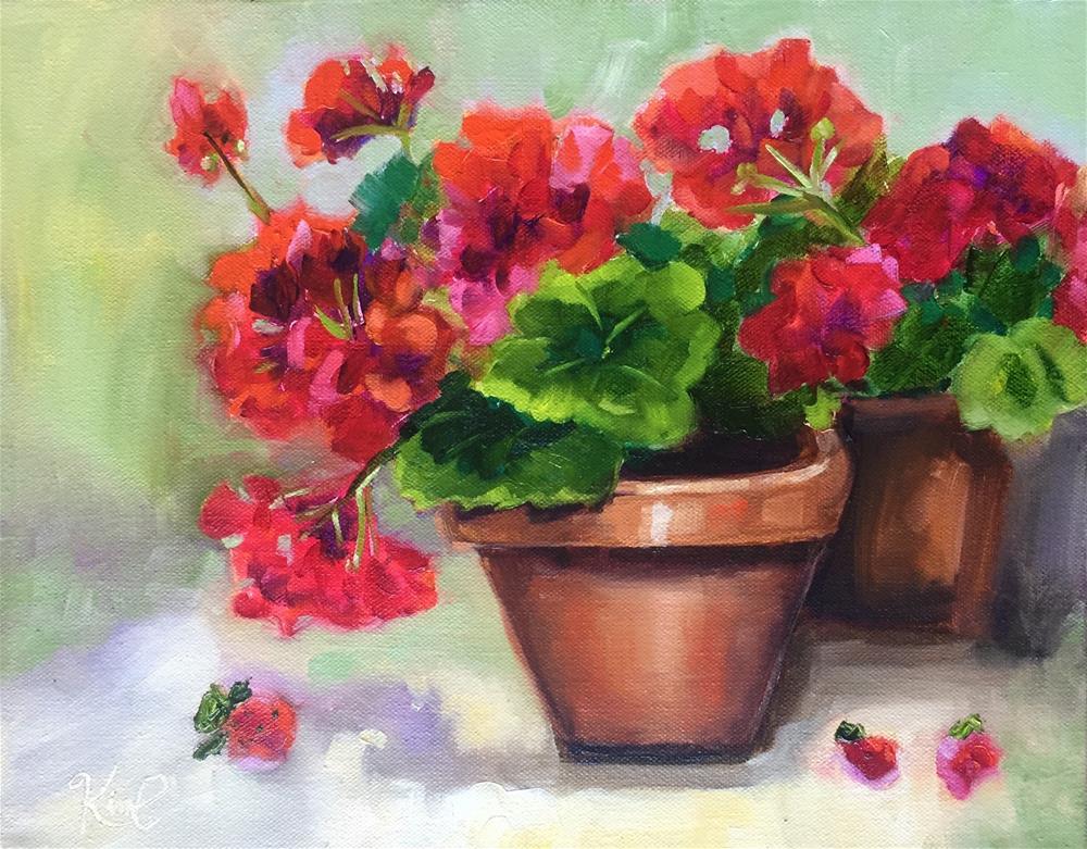 """Geraniums in terracotta pots "" original fine art by Kim Peterson"