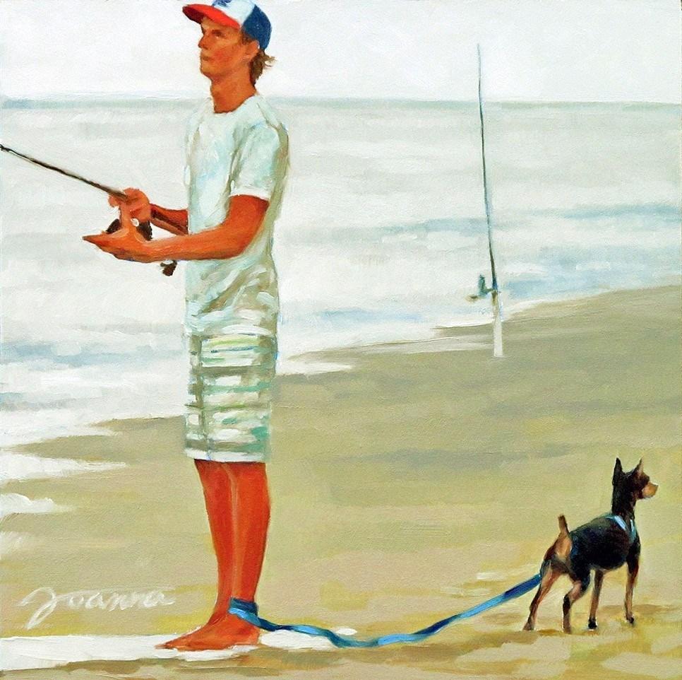 """Patience Patience Patience!--Series Painting of Dog & Owner"" original fine art by Joanna Bingham"