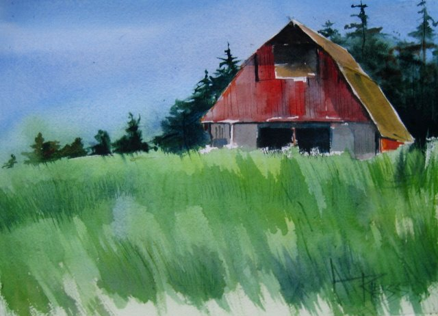"""""""Whidby Island Barn watercolor landscape and sketches"""" original fine art by Robin Weiss"""