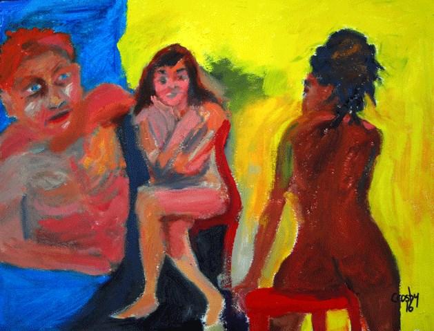 """Three Souls"" original fine art by Donna Crosby"