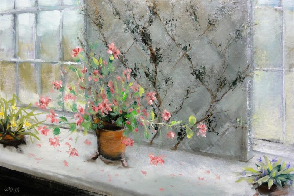 """""""Geraniums And Orchids On A Ledge"""" original fine art by Dalan Wells"""