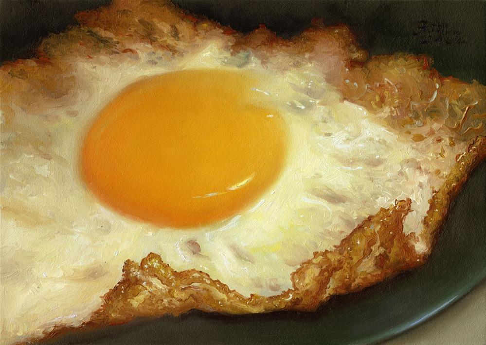 """Fried Egg on Green Plate"" original fine art by Faith Te"