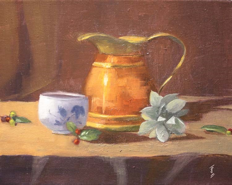"""Copper Pitcher with Succulent"" original fine art by Jane Frederick"