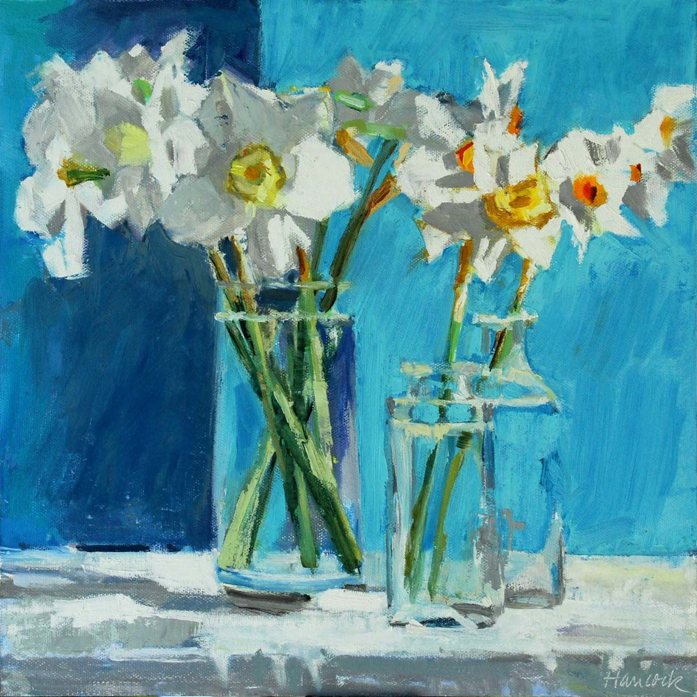 """Daffodils Three Vases"" original fine art by Gretchen Hancock"