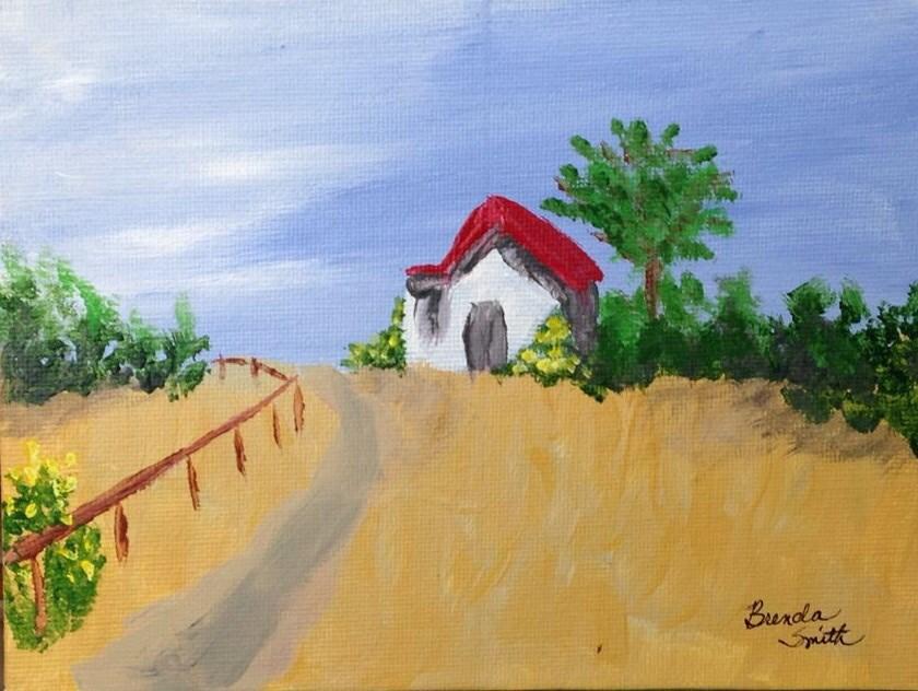 """Red Roof"" original fine art by Brenda Smith"