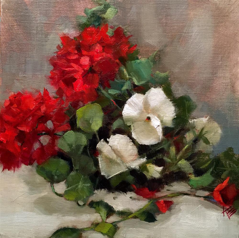 """Pansies & Red Geraniums"" original fine art by Krista Eaton"