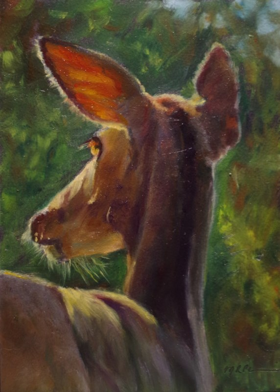 """Morning Deer"" original fine art by Marilyn R. Place"