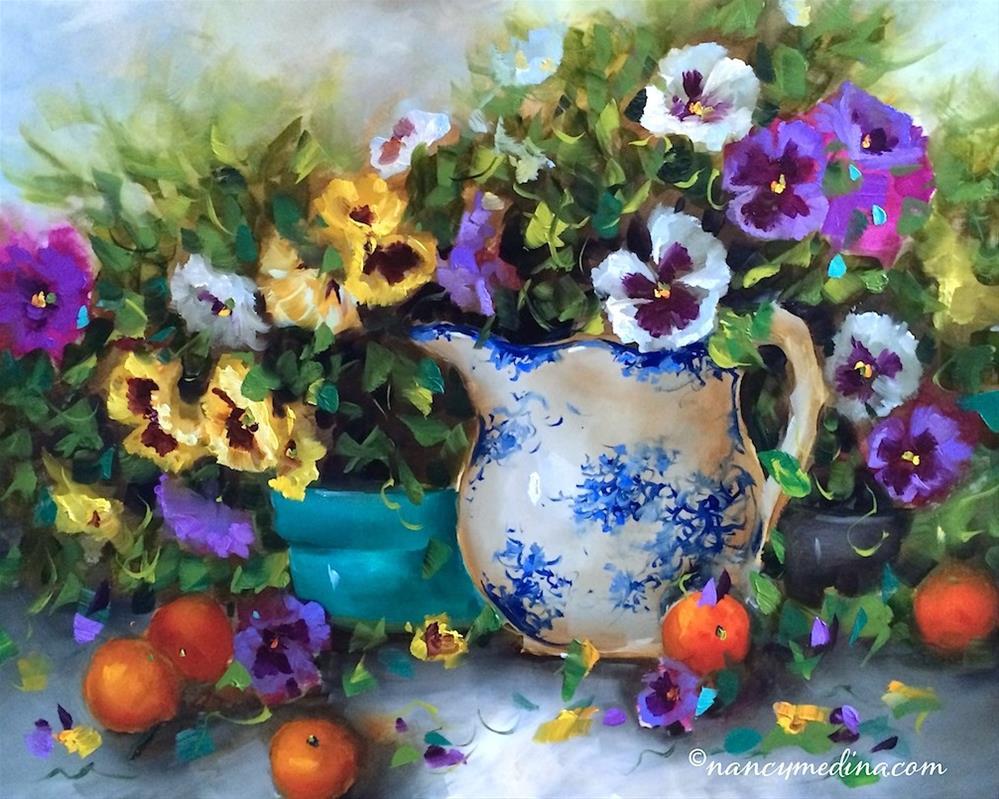 """""""Pansy Panoply"""" original fine art by Nancy Medina"""