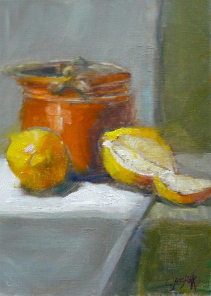 """Copper pot with lemons"" original fine art by Carol Josefiak"
