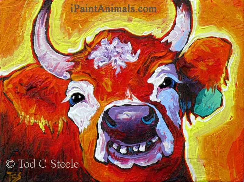 """The Happiest Cows Come From Oregon - by Tod C Steele"" original fine art by Tod Steele"