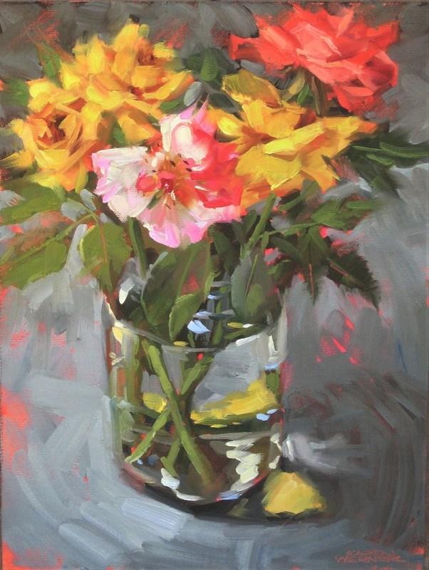 """""""Fading Roses"""" original fine art by Karen Werner"""