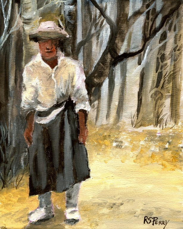 """Gullah Woman Standing "" original fine art by R. S. Perry"