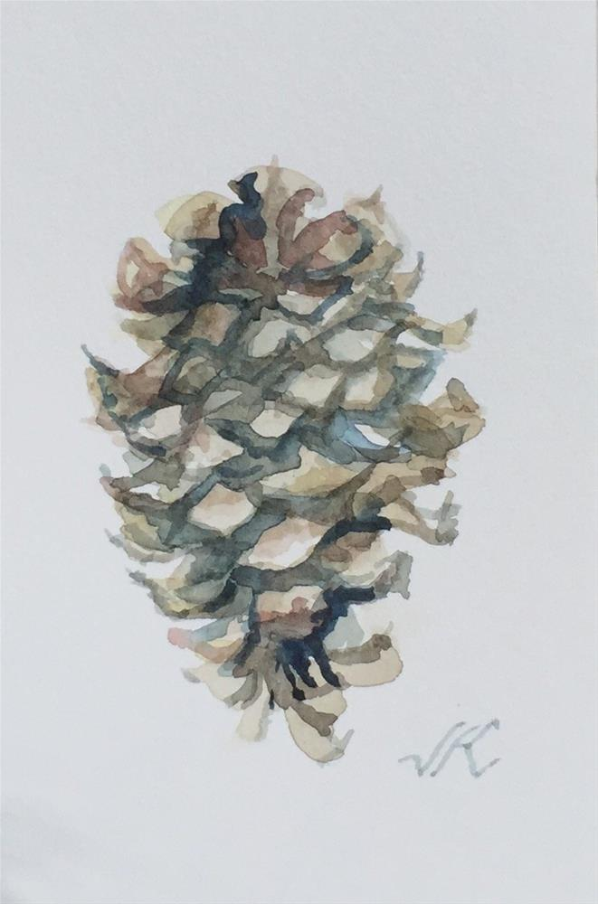"""Ponderosa Cone"" original fine art by Jean Krueger"