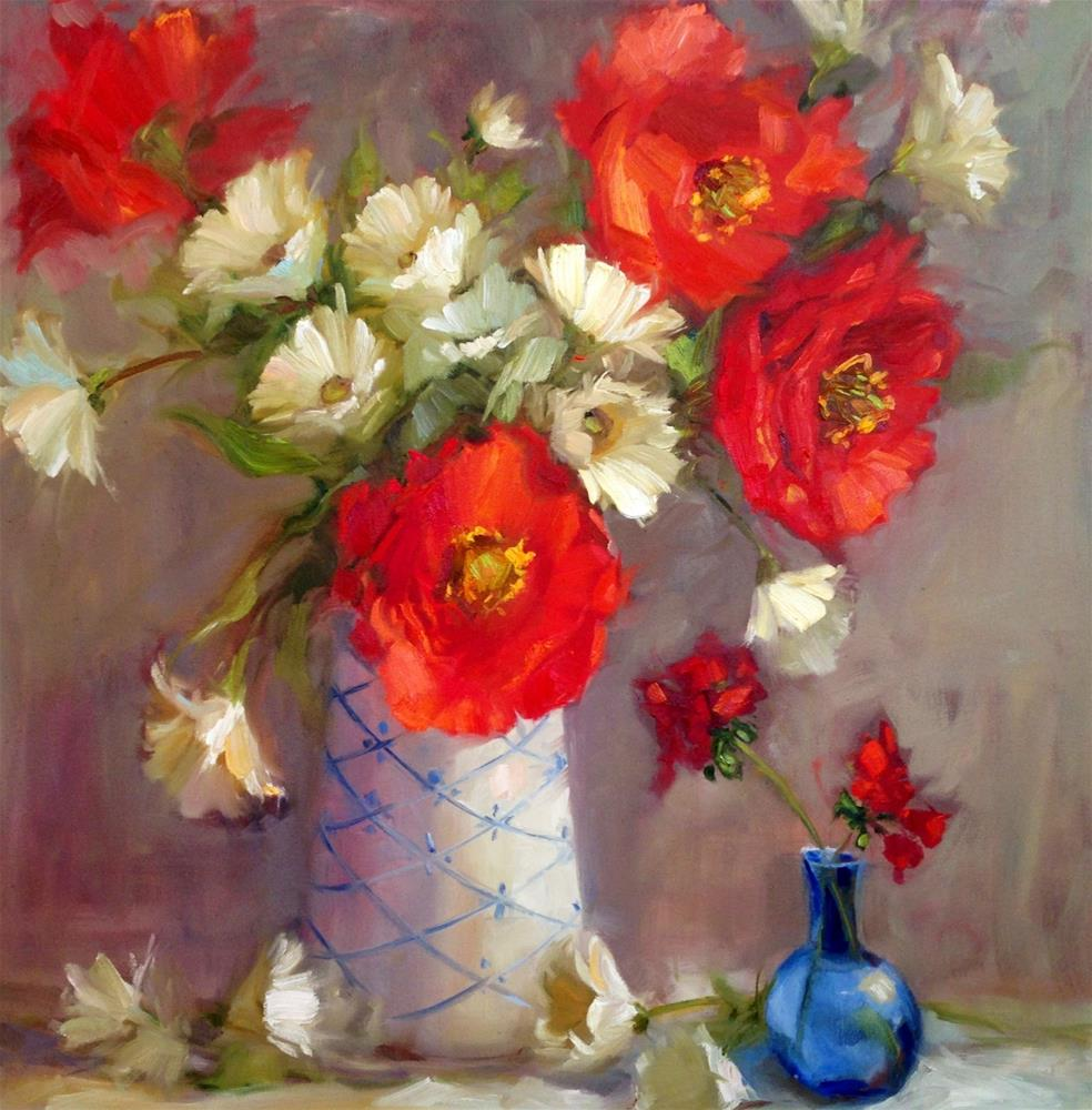 """Poppies & Blue vase"" original fine art by Krista Eaton"