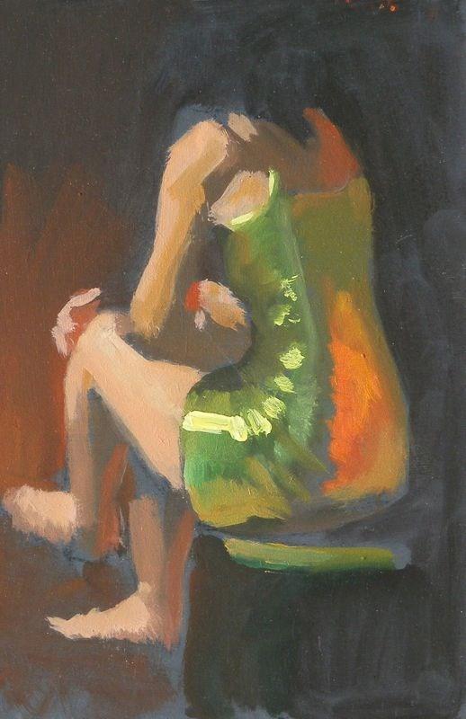 """Green metalic dress"" original fine art by Peter Orrock"