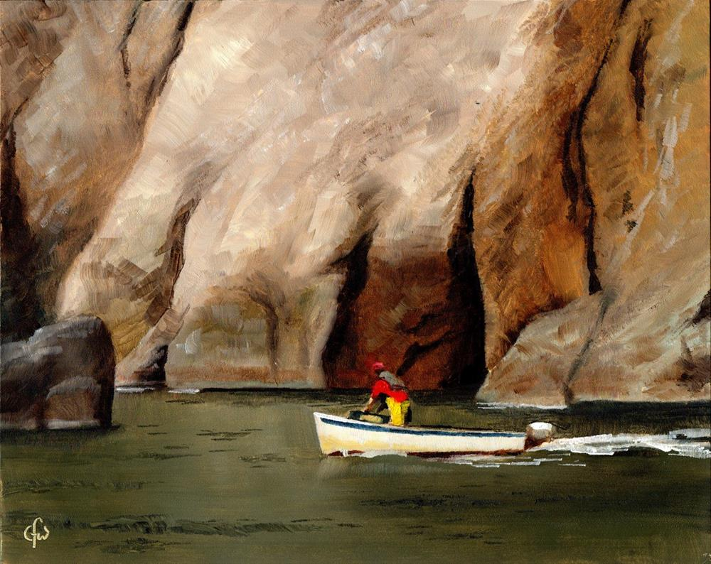 """""""Boat by the Cliff"""" original fine art by Gary Westlake"""