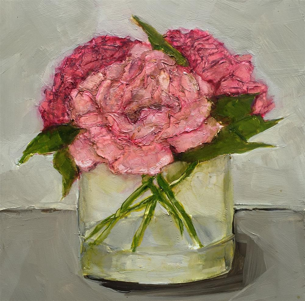 """ORIGINAL Still Life Art Oil Painting Peony Peonies Contemporary"" original fine art by Colette Davis"