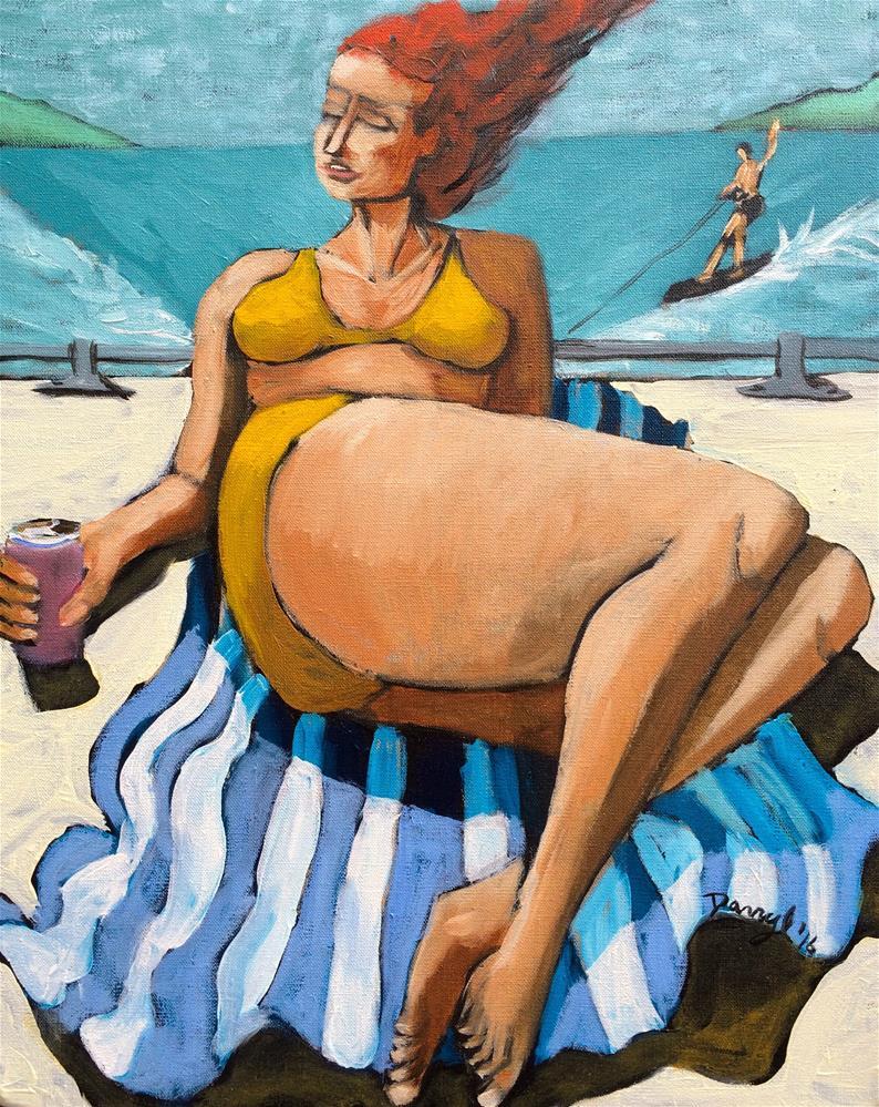 """Woman on a Ski Boat"" original fine art by Darryl Freeman"