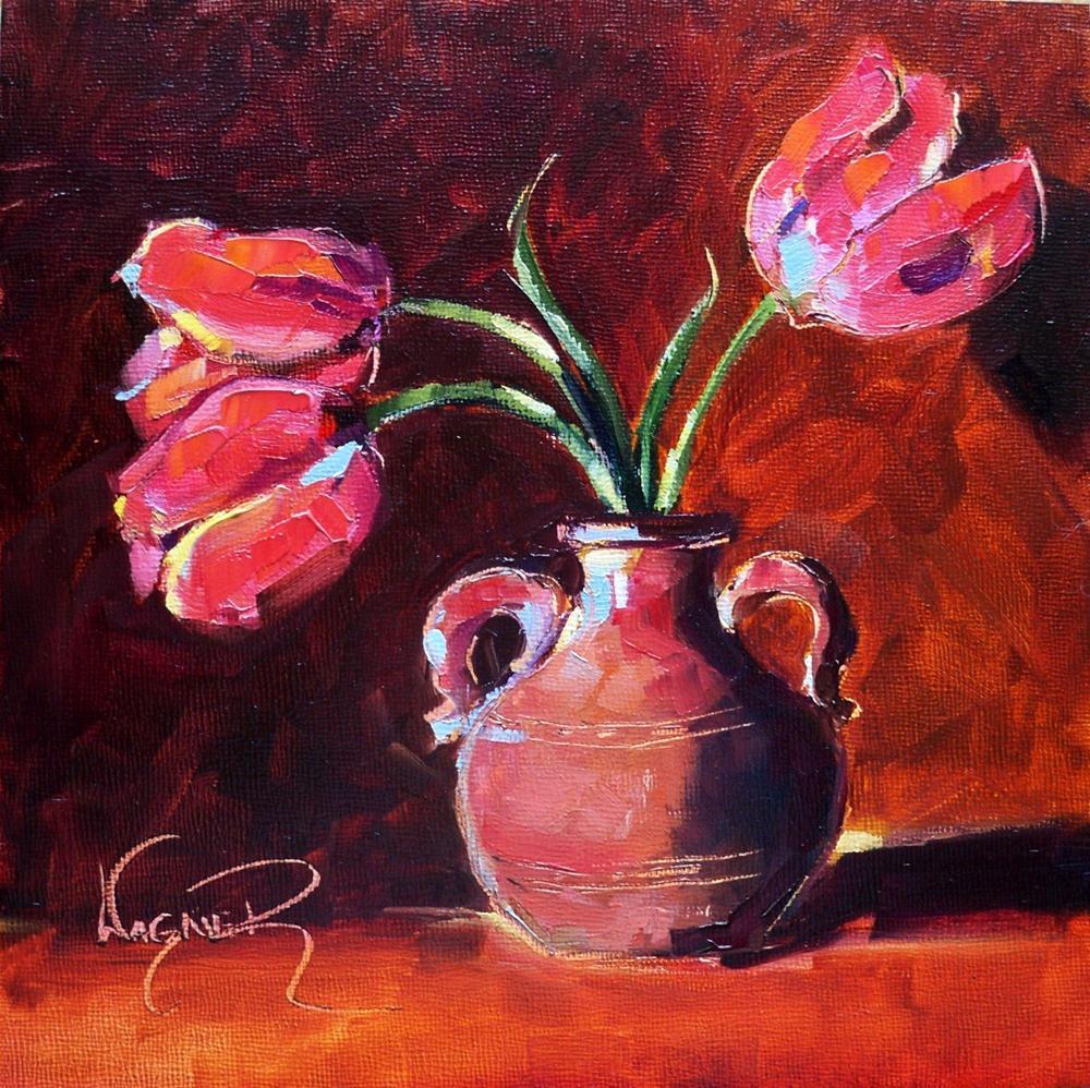 """""""RED TULIPS IN CLAY VASE by OLGA WAGNER"""" original fine art by Olga Wagner"""