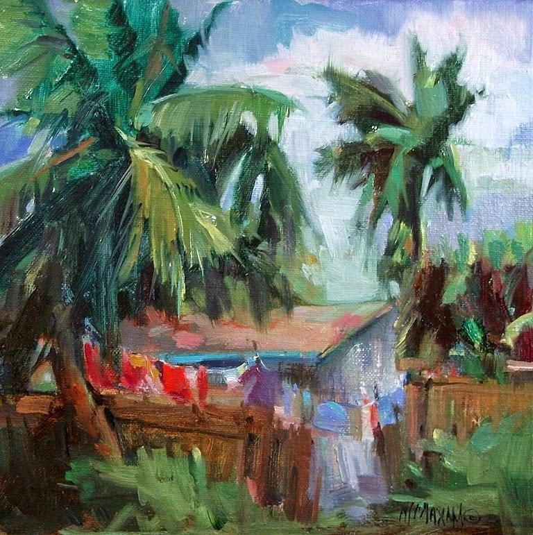 """Washday In Paradise"" original fine art by Mary Maxam"
