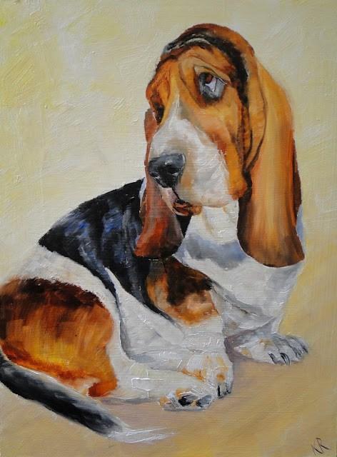 """""""Basset Hound 2"""" original fine art by Karen Robinson"""