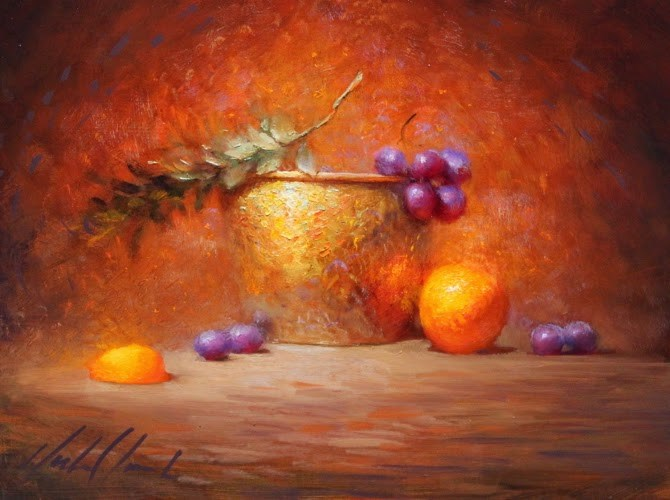 """Orange's Light in Grape's Shadow"" original fine art by Justin Clements"