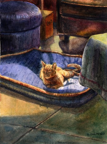 """Watercolor: Dog Bed Squatter"" original fine art by Belinda Del Pesco"