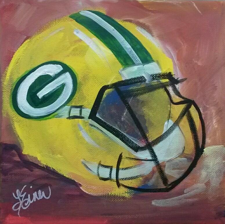 """""""Packer Helmet"""" original fine art by Terri Einer"""
