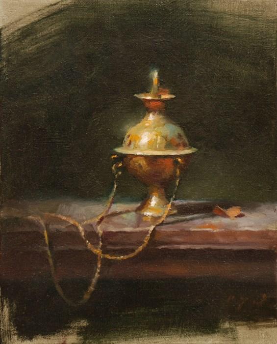 """Incense Burner"" original fine art by Charles Young Walls"